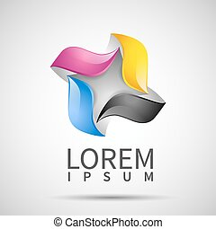 business template with CMYK icon logo - Vector business...