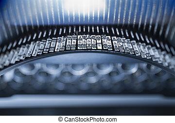 Antique typewriter keys and type