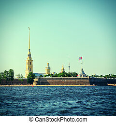 Saint Petersburg - Toned Photo of Landscape of Peter and...