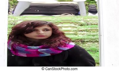 distorting mirror - girl in front of a distortion mirror