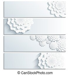 Set of trendy banner with 3d chrysanthemum - Set of...