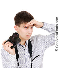 Teenager with Photo Camera - Serious Teenager with a Vintage...