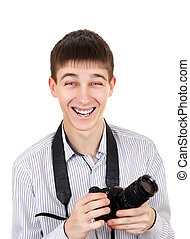 Teenager with Photo Camera - Cheerful Teenager with a...