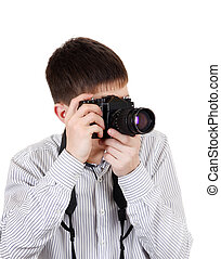 Teenager with Photo Camera - Teenager with a Vintage Photo...