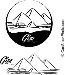 TURISTIC LABEL GIZA EGYPT lettering illustration