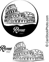TURISTIC LABEL Roma ITALY lettering illustration