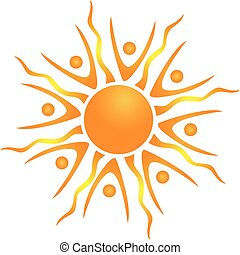 Abstract teamwork sun icon vector