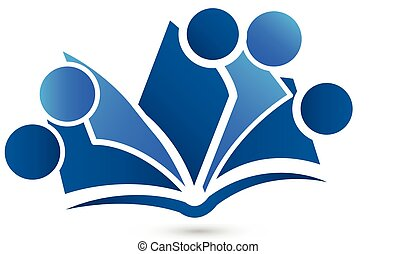 Logo teamwork book vector - Teamwork book logo image symbol...