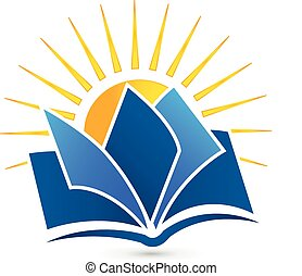 Logo Book and sun vector icon