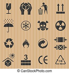Packaging cardboard box signs vector set.