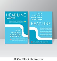 Vector brochure template design with wave, icons and...