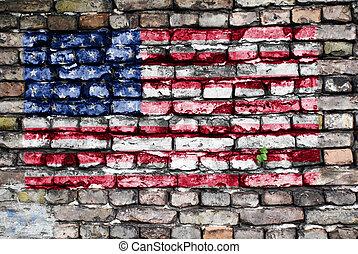 viejo, estados unidos de américa, pintado, pared, bandera, ladrillo