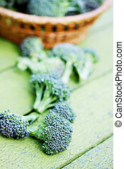 raw broccoli - Fresh broccoli in a basket, organic food