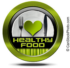 Healthy Food - Green Icon - Healthy food, round symbol or...