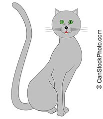 drawing a gray cat