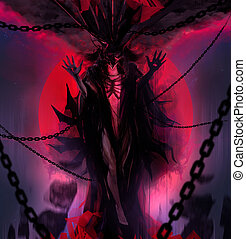 Chain demon goddess - Hell demon goddess with chains and...