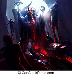 Fantasy sorcerer raising and resurrecting zombies with...