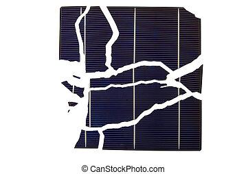Broken Solar Cell - a broken solar cell wafer