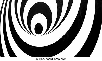 Black and White Tunnel Effect Turning Left. Video background...