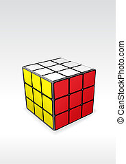 logic puzzle - vector image of finished rubic\'s cube -...