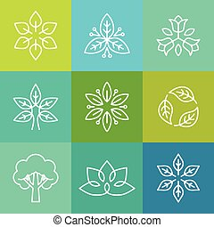 Vector ecology and organic logos in outline style - abstract...