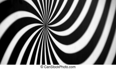 Black and White Spiral Spinning Left Defocused. Video...