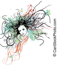 Woman with curly hair. Vector illustration.