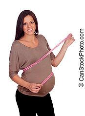 測量, 婦女, 肚子, 她, 怀孕