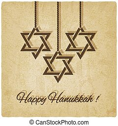 Happy Hanukkah card old background - vector illustration eps...