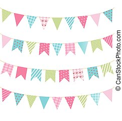 Set of multicolored flat buntings garlands with ornament...