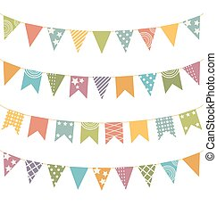 flat buntings with ornament isolated - Set of multicolored...