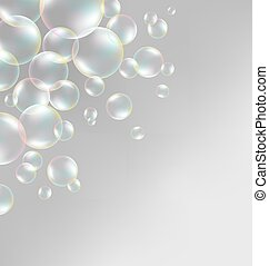 soap bubbles on grayscale - Transparent iridescent soap...