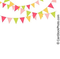 Multicolored bright buntings garlands isolated on white...