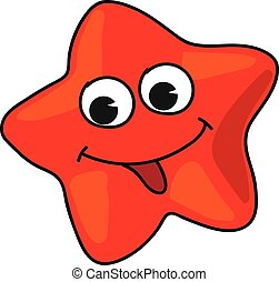 Cartoon starfish - Cartoon red starfish isolated on white...