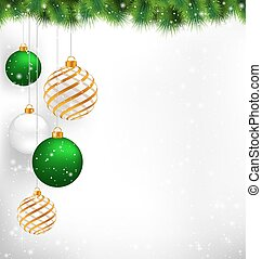Golden spiral and green christmas balls with pine branches in sn
