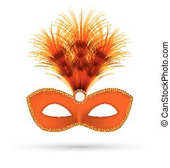 Orange carnival mask with fluffy feathers isolated on white...