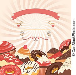 Sweets with radial stripes on beige