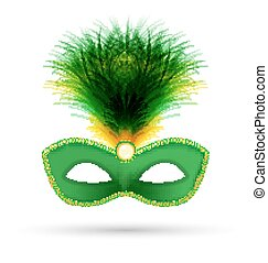 Green carnival mask with fluffy feathers isolated on white...