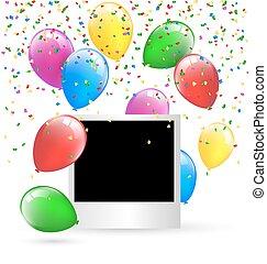 fête, Photo, cadre, à, multicolore, gonflable,...