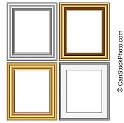 frames isolated on white - Four multicolored silver and...