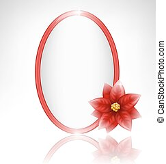 frame with poinsettia and reflection on grayscale
