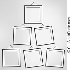 Six black modern blank frames isolated on grayscale