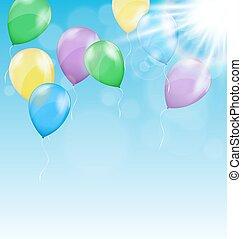 multicolore, gonflable, air, balles, à, eclats, de,...