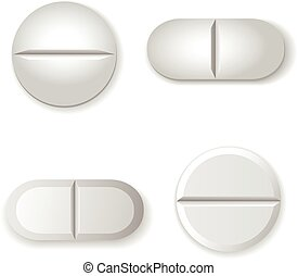 Tablets and pills vector set isolated on white background. -...