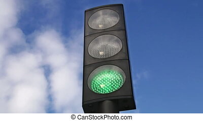 Traffic Light Changing to Red - Traffic lights turning red...
