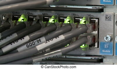 Close-up of network cables and LED - View of network cables...