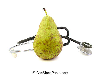 Pear and stethoscope on bright background