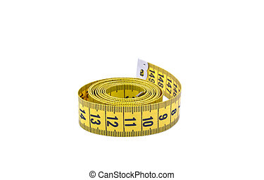 Tape measure isolated on white background - Yelow tape...