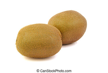 Two kiwis on a bright background