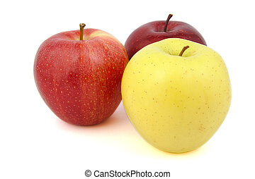Set of red and yellow apples